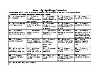 Spelling Homework Calendar