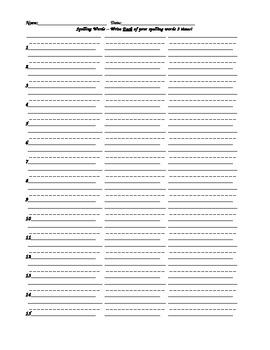 Spelling Homework - 3 Times Each!