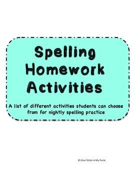 Spelling Homework Activites-Free