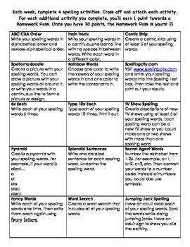 Spelling Homework Activities