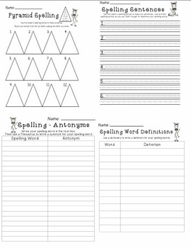Spelling Homework Activities For Any List  - Zebra Themed