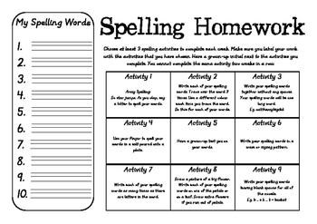 Spelling Homework Activity Grid
