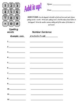 Spelling Homework - Add it Up