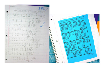 Spelling Homework Bingo
