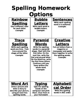 Spelling Homework Bingo Options