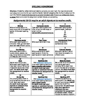 Spelling Homework Board - FULLY EDITABLE