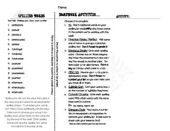 Spelling Homework Brochure