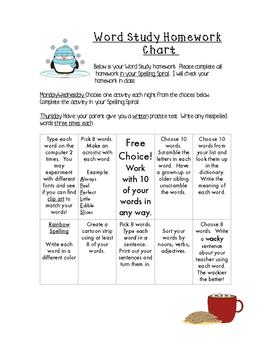Spelling Homework Charts