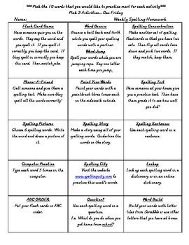 Spelling Homework Choice Activities