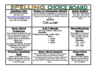 Spelling Homework Choice Board