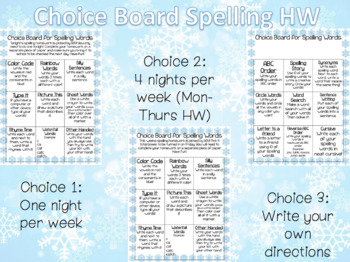 Spelling Homework Choice Board *Winter Version*