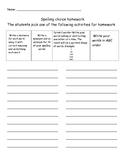 Spelling Homework Choice Boards