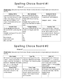 Spelling Homework: Choice Boards