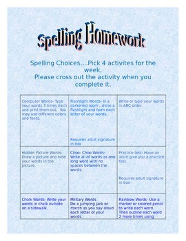 Spelling Homework Choices