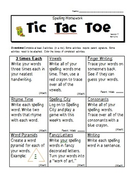 Spelling Homework Choices: Tic Tac Toe