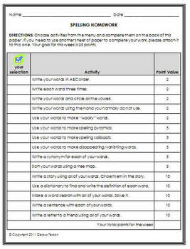 Spelling Homework Contract for Elementary Grades 1st - 3rd