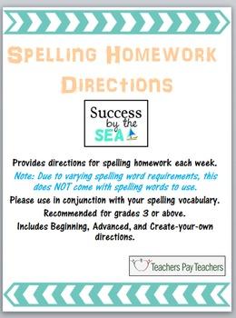 Spelling Homework Directions