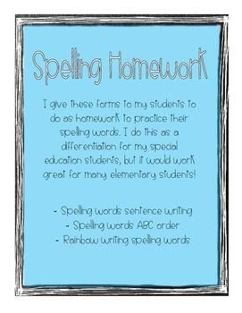 Spelling Homework Forms