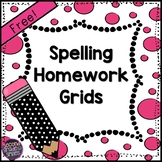 Free Spelling Homework Grids | Spelling Menus