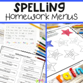 Spelling Homework Menu