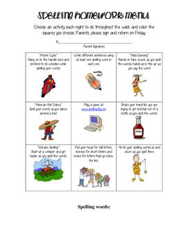 Spelling Homework Menu 2