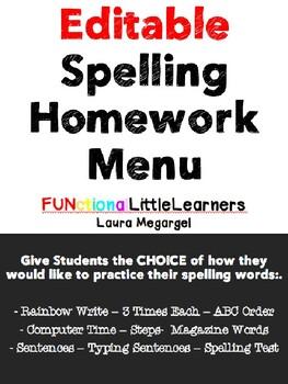 Spelling Homework Menu / Choice Board - Editable