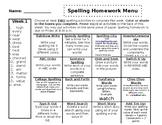 Spelling Homework Menu - Editable!