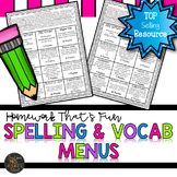 Spelling Menus and Word Work Activities