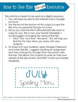 Spelling Menu - July - Homework Activities