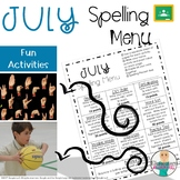 July Spelling Activities - Choice Menu - Works with ANY Li