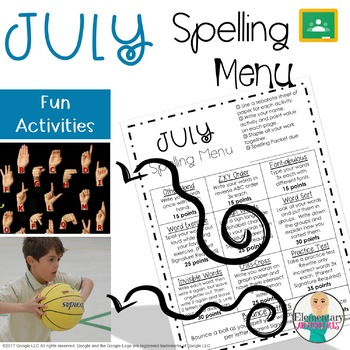 Spelling Menu - July - Homework Activities
