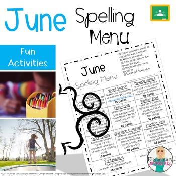 Spelling Menu - June - Homework Activities