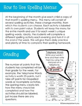 June Spelling Activities - Choice Menu - Works with ANY List of Words