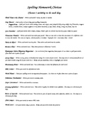 Spelling Homework Menu and Templates