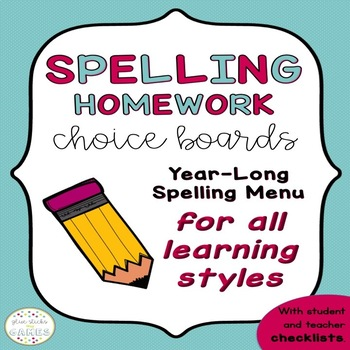 Spelling Homework Menu for All Learning Styles