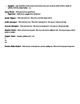 Spelling Homework Menu/Choices