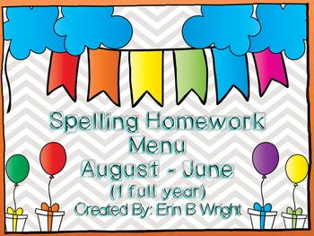 Spelling Homework Menus for a year!