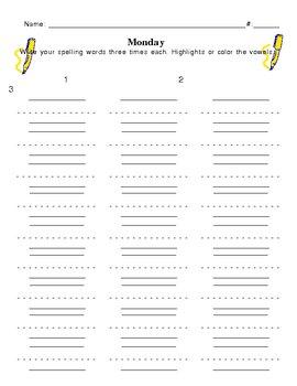 Spelling Homework  - Monday thru Thursday