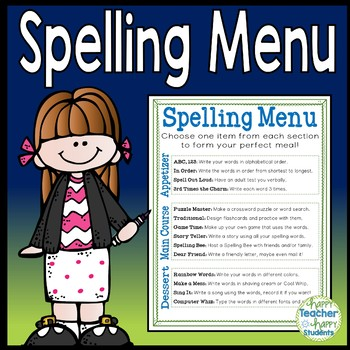 Spelling Menu - Students pick 3 Spelling Activities from t