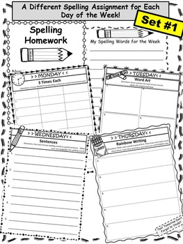 Spelling Homework Packet! (10 words)