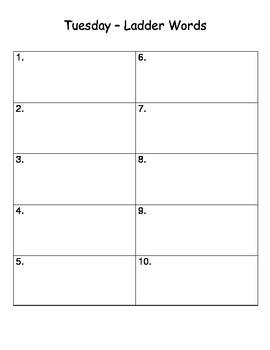 Spelling Homework Packet - 10 words