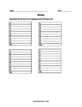 Ten Times Each Worksheet