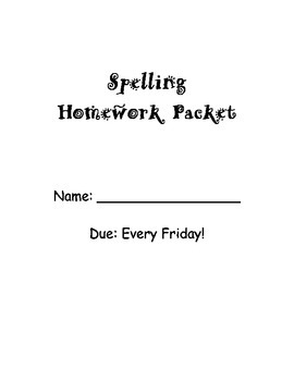 Spelling Homework Packet - 20 words