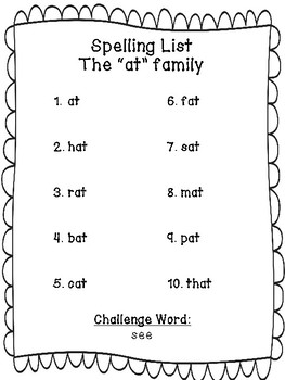 Spelling Homework Packet