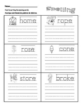 "Spelling Homework Packet Long Vowel ""o"""
