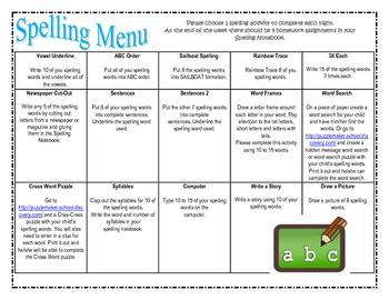 Spelling Homework Packet - Parent Letter and Spelling Menu