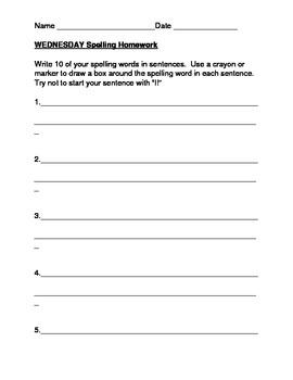 Spelling Homework Packet Template- 15 words