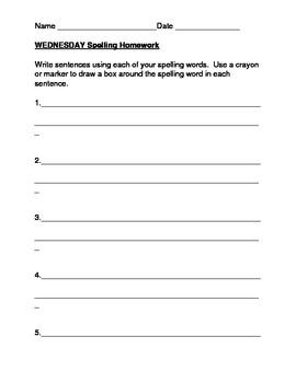 Spelling Homework Packet template- 10 words