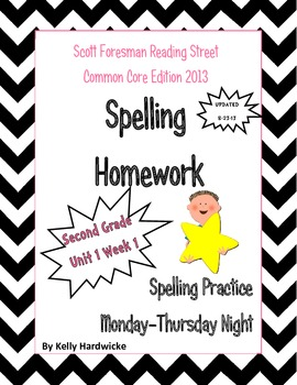 Reading Street 2013 Second Grade Spelling Homework Unit 1 Week 1 UPDATE(Freebie)