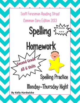 Reading Street 2013 Second Grade Spelling Homework Bundle *UPDATED AGAIN*